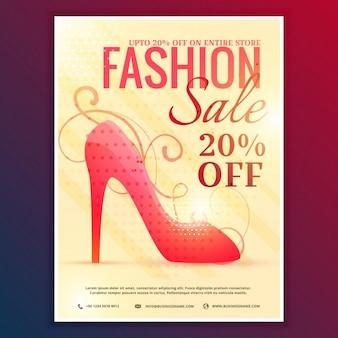 赤いサンダルとファッション販売の割引券