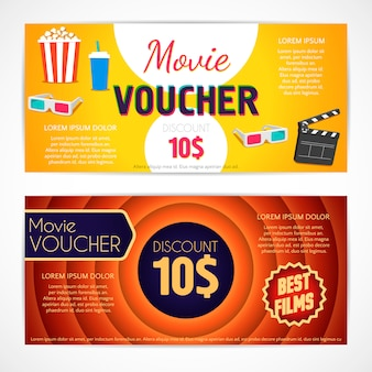 Discount voucher movie template, cinema gift certificate, coupon template