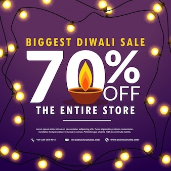 Discount voucher purple decorated with lights for diwali