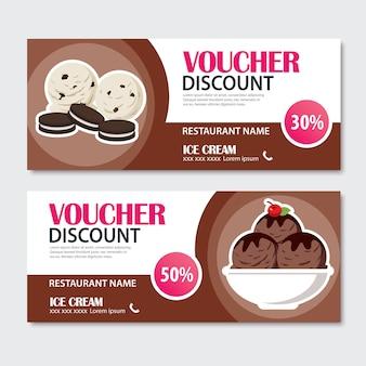 Discount voucher set of ice cream template design.