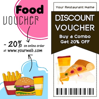 Discount voucher template, food and drink concept.