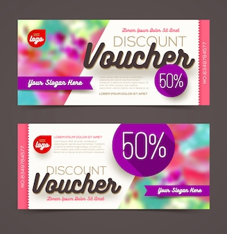 Discount voucher template - multicolor bright design.   illustration.