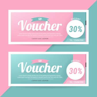 Discount voucher template with colorful pattern.