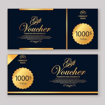 Discount voucher template with gold and black certificate.