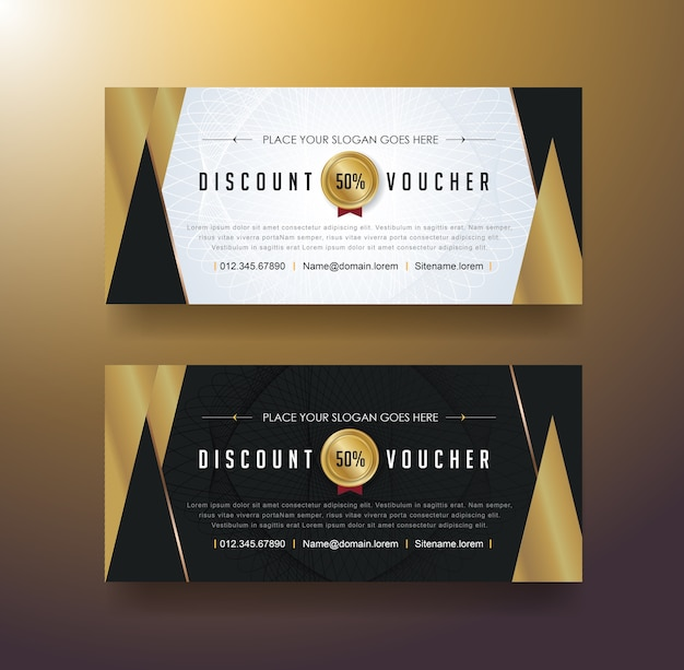 Discount voucher template with luxury pattern