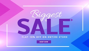 Discount voucher with purple and blue polygonal shapes