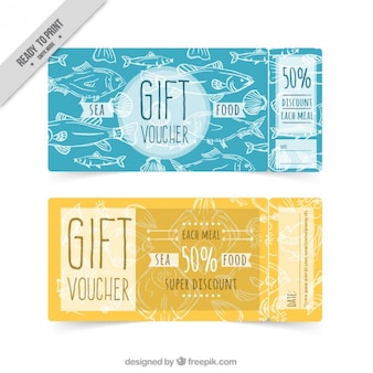 Discount vouchers for sea food restaurant Free Vector