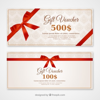 Discount vouchers with a red bow