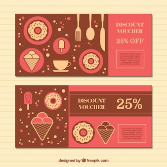 Discount vouchers with sweets in flat design