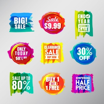 Set di etichette colorate di vendita discorso palloncino bolle elementi di design