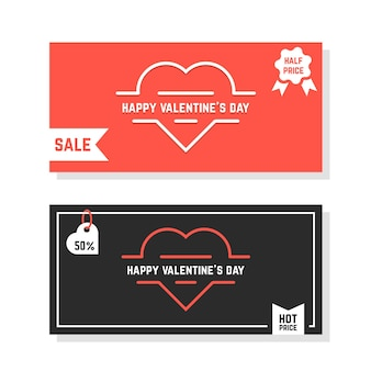 Discounts banners for happy valentine day. concept of amour, e-commerce, promotional, badge, postcard, voucher. isolated on white background. flat style trend modern logo design vector illustration