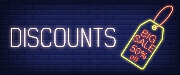 Discounts, big sale neon sign