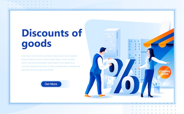 Discounts of goods flat landing page template of homepage