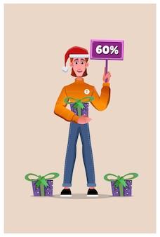 クリスマスの日のギフト割引。ソーシャルメディアテンプレート
