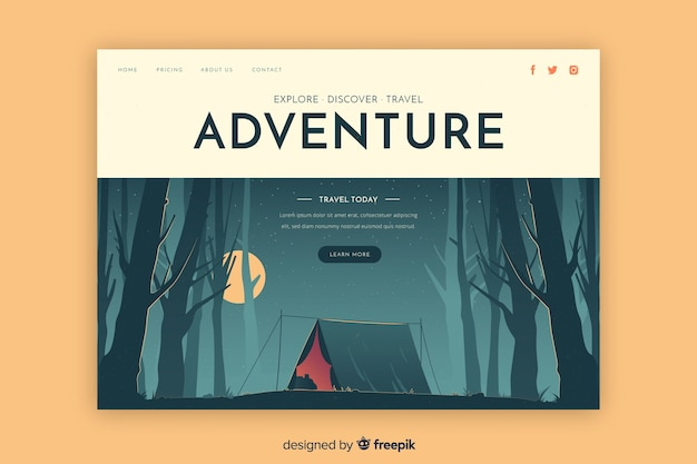 Discover adventure landing page