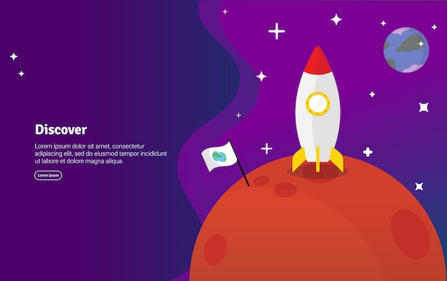 Discover concept scientific illustration banner