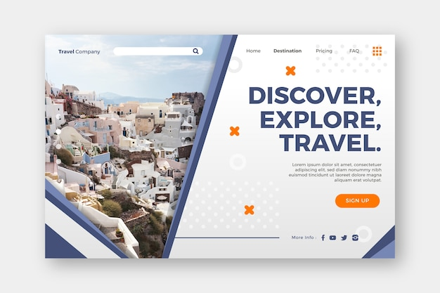 Discover explore and travel landing page