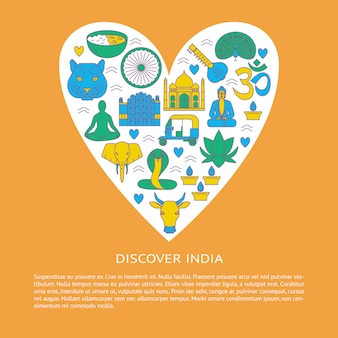 Discover india, elements in a heart shape