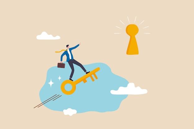 重要な成功を発見し、ビジネス目標を達成するための秘密の創造性を解き放ち、機会の概念を見つけるためのリーダーシップまたは動機付け、成功の鍵穴を発見するために飛んでいる黄金の鍵に乗る賢いビジネスマン。