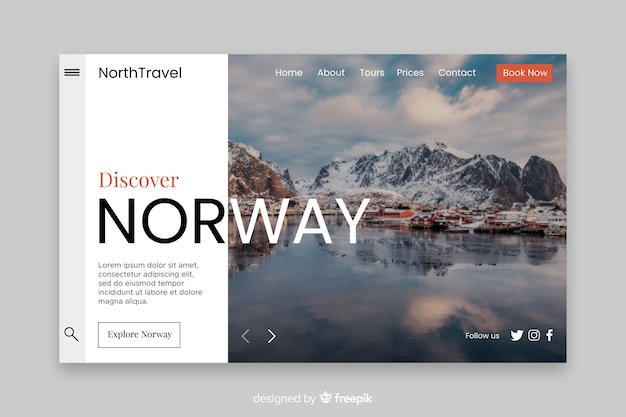Discover norway travel landing page