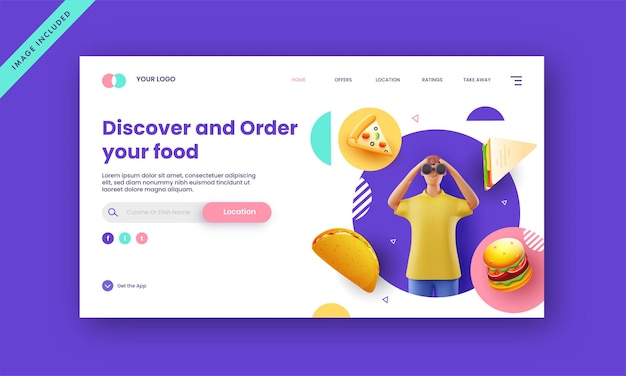 Discover and order food based landing page with 3d rendering man looking through binocular.