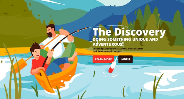 Discovery banner. family trekking, river rafting and fishing.