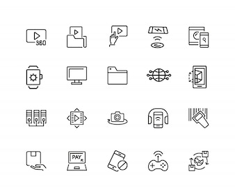 Discovery icons. Set of twenty line icons. Video content, data exchange, online service.