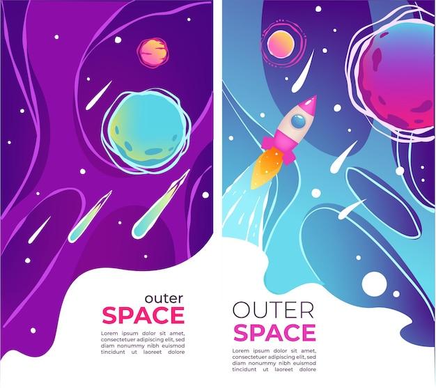 Открытие космоса, исследование вселенной, баннеры с образцом текста