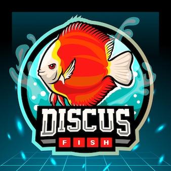 円盤投げの魚のマスコット。 eスポーツロゴデザイン