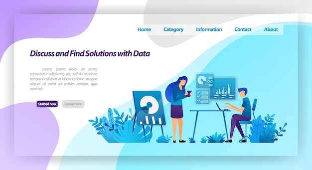 Discuss and find solutions to problems by analyzing data. workers meeting for business dialogue. landing page web template