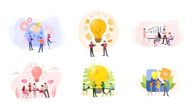 Обсуждение и мозговой штурм в концепции команды. группа деловых людей на работе, офисная встреча. профессиональное общение. иллюстрация