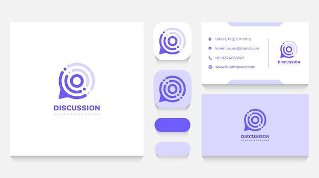 Discussion chat bubble logo template and business card