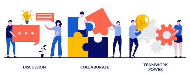 Обсуждение, сотрудничество, концепция силы совместной работы с крошечными людьми
