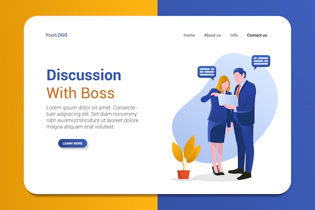 Discussion with boss landing page template