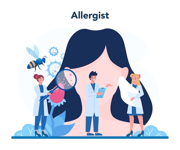 Заболевание с иллюстрацией симптомов аллергии в плоском стиле