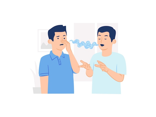 Человек с отвращением закрывает нос из-за неприятного запаха изо рта или неприятного запаха изо рта из-за концепции его друга