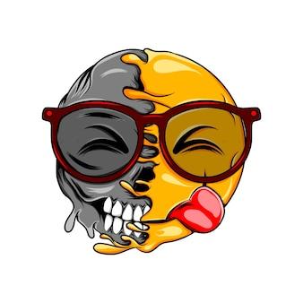 Омерзительное выражение глаз в очках на лице меняется на нормальный смех смайлик темный череп