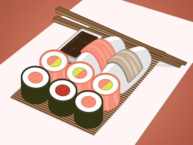Dish of assorted japanese food