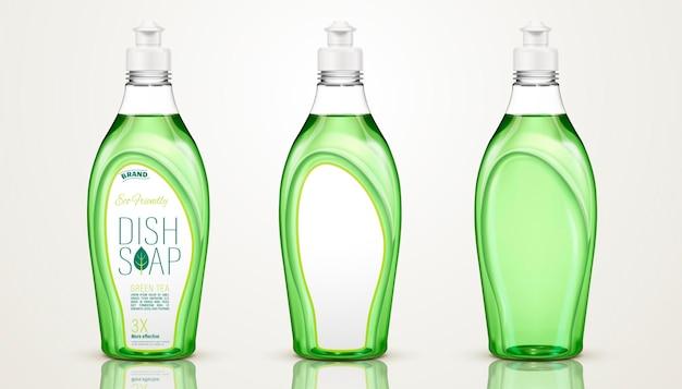Дизайн контейнера для мыла для посуды, бутылки с моющим средством для посуды на 3d иллюстрации, некоторые с этикетками, некоторые без