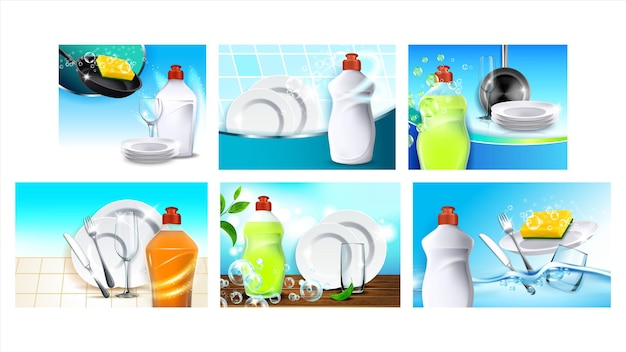 Dish soap detergent advertising posters set vector. dishwashing soap blank bottle and sponge, plates and wine glass, fork and knife. chemical liquid for wash utensil color concept layout illustrations