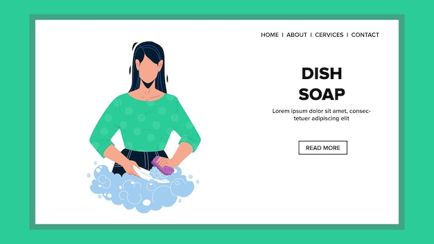 Dish soap woman using for washing plate vector. young lady wash kitchenware with dish soap and sponge accessory. character girl making domestic work, dishwashing web flat cartoon illustration