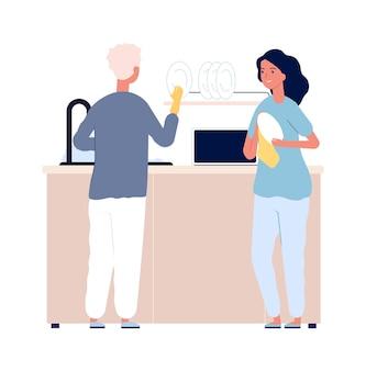 食器洗い。夕食後の家族。水と洗剤でプレートを掃除する男性女性ベクトル図