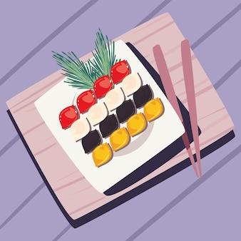 Dish with songpyeon and chopsticks