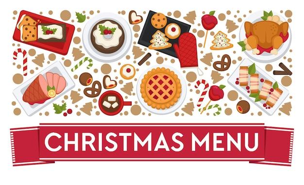 크리스마스를 축하하기 위해 레스토랑이나 식당에서 준비한 요리와 음식