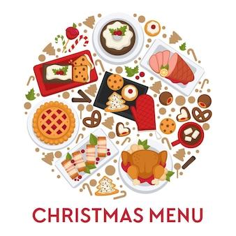 크리스마스 축하를 위해 조리된 요리와 스낵. 동그라미에서 크리스마스 메뉴 템플릿