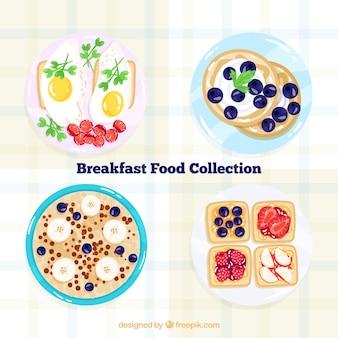 朝食の食べ物と料理のコレクション