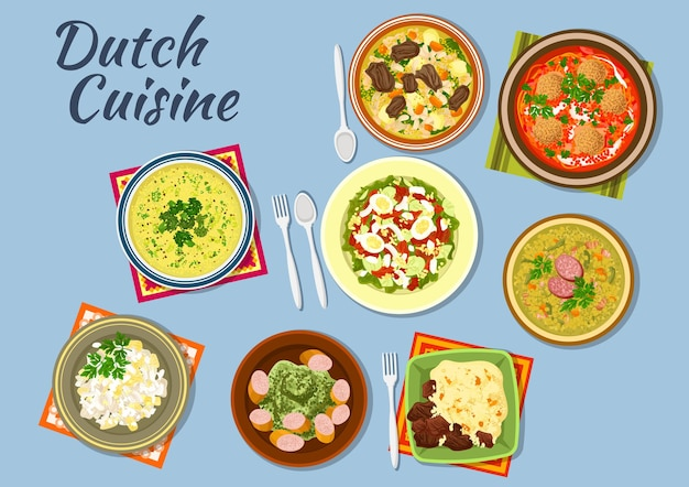 Dishes of dutch cuisine with salmon and egg salad, tomato soup with bitterballens, pea soup snert