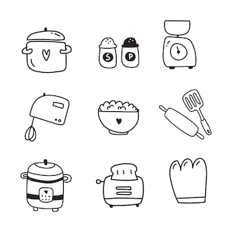 Dishes, kitchen items set of icon. hand draw