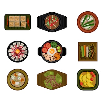 Dishes in plates top view. illustration set