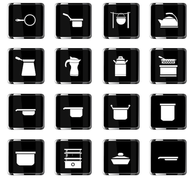 Dishes vector icons for user interface design